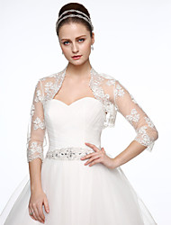 cheap -Tulle Wedding / Party / Evening Women's Wrap With Beading / Embroidery Shrugs