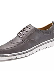 cheap -Men's Shoes Other Animal Skin Spring Fall Comfort Oxfords Lace-up For Outdoor Brown Gray Black