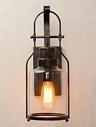 lanterna retro retro de lanterna de parede 1 luz com vidro transparente