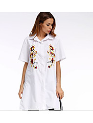 cheap -Women's Daily Work Casual Street chic Spring Summer Shirt,Embroidery Square Neck Short Sleeves Cotton Modal Thin