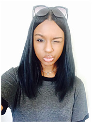 Недорогие -жен. Бразильские волосы Натуральные волосы 360 Лобовой 150% плотность С пушком Прямой силуэт Парик Черный Черный Короткий Средний Длиный