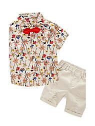 Недорогие -Мальчики Набор одежды Хлопок Лето С короткими рукавами Бежевый