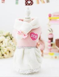Chat Chien Robe Noël Vêtements pour Chien Soirée Décontracté / Quotidien Garder au chaud Halloween Couleur Pleine Rose Costume Pour les