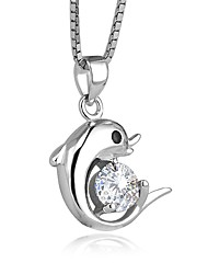 cheap -Women's Dolphin Fashion Cute Style Pendant Necklace AAA Cubic Zirconia Sterling Silver Zircon Pendant Necklace , Wedding Graduation