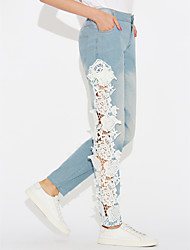 cheap -Women's Mid Rise strenchy Skinny Jeans Pants, Casual Lace Polyester Spring Fall