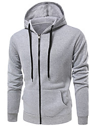 Men's Daily Sports Hoodie Solid Print Hooded Micro-elastic Cotton Long Sleeve Winter Fall