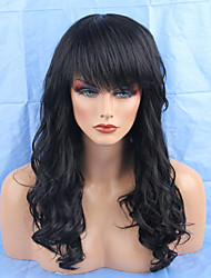 Women Human Hair Capless Wigs Medium Auburn Honey Blonde Black Long Wavy Side Part