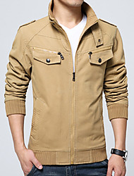 cheap -Men's Daily Plus Size Simple Vintage Casual Spring Fall Jacket,Solid Stand Long Sleeve Regular Cotton Acrylic