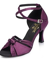 "Women's Latin Silk Sandal Performance Buckle Pleated Cuban Heel Green Purple 1"" - 1 3/4"" 2"" - 2 3/4"" 3"" - 3 3/4"" Customizable"