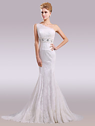 cheap -Mermaid / Trumpet One Shoulder Court Train Lace Satin Wedding Dress with Beading Appliques Lace by Nameilisha