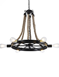 cheap -New 6 Heads Vintage Hemp Rope Pendant Lights Living Room Dining Room Chandelier