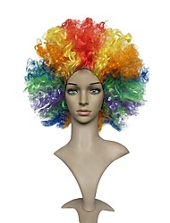 Women Synthetic Wig Capless Short Jerry Curl Rainbow Natural Hairline Asymmetrical Haircut Party Wig Celebrity Wig Halloween Wig Carnival