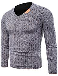 Standard Pullover Da uomo-Casual Taglie forti Semplice Tinta unita Pied-de-poule A V Manica lunga Cotone Primavera Autunno Medio spessore