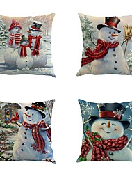 Set Of 4 Christmas Snowman Printing Pillow Cover Personality Pillow Case Snowman Sofa Cushion Cover