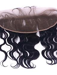 baratos -8-22 polegadas grau 8a 13x4 onda do corpo ouvido para laço encaixe fechamentos frontais com cabelo bebê nódulos branqueados # 1b preto