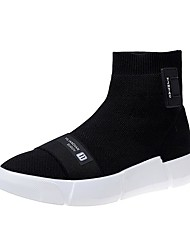 cheap -Women's Shoes Knit Fall Comfort Boots Round Toe Mid-Calf Boots For Casual Black