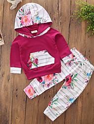 abordables -Ensemble de Vêtements Fille Couleur Pleine Fleur Rayure Coton Polyester Printemps Automne Manches Longues Fleur Habillement A Rayures Vin