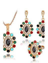 Women's Necklace Bracelet Crystal Rhinestone Fashion Luxury Crystal Rhinestone Geometric Earrings Necklace Ring For Wedding Party Wedding
