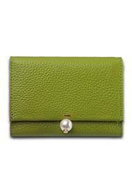 cheap -Women Bags Cowhide Wallet Pearl Detailing for Shopping Casual All Seasons Blushing Pink Gray Yellow Light Green Khaki