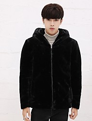 cheap -Men's Street chic Faux Fur Fur Coat-Solid Colored,Fur Trim Hooded
