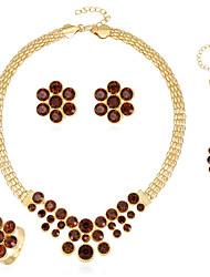 Women's Bangles Necklace Crystal Rhinestone Fashion Luxury Crystal Rhinestone Circle Drop Earrings Necklace Ring Bracelets For Wedding