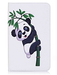 panda et porte-cartes en bambou porte-cartes avec étui en cuir magnétique pu housse en cuir pour samsung galaxy tab e 8.0 t377 t377v