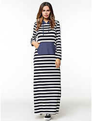 cheap -Women's Going out Loose Shift Dress - Solid Colored Striped Maxi