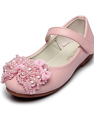cheap -Girls' Shoes Leatherette Spring Fall Comfort Flower Girl Shoes Flats Bowknot Imitation Pearl Magic Tape for Wedding Dress White Pink