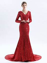 cheap -Mermaid / Trumpet V Neck Court Train Lace Formal Evening Dress with Lace by LAN TING Express