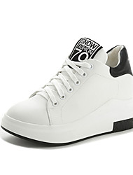 cheap -Women's Shoes Leatherette Winter Fall Comfort Sneakers Round Toe Booties/Ankle Boots Split Joint for Casual Outdoor White Black