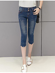 Women's Mid Rise Micro-elastic Slim Jeans Shorts Pants,Simple Slim Jeans Shorts Solid