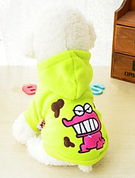 Dog Hoodie Dog Clothes Warm Casual/Daily Cartoon Black Red Green Costume For Pets