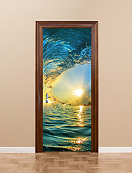 cheap -77x200cm Ocean Wave Door Mural Sticker Colorful Sea Water Billow Door Wall Sticker Mural Door Picture for Living Room Home Decoration