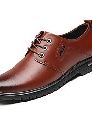 cheap -Men's Shoes Nappa Leather Fall Comfort Oxfords Lace-up For Outdoor Brown Black