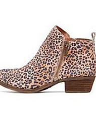 Feminino Sapatos Pele Nobuck Outono Inverno Conforto Inovador Botas da Moda Curta/Ankle Botas Dedo Apontado Botas Curtas / Ankle Ziper