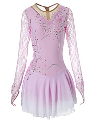 Figure Skating Dress Women's Girls' Ice Skating Dress Thermal / Warm Breathable Handmade Long Sleeves Performance Skating Wear High