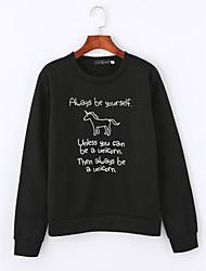 abordables -Sweatshirt Femme Quotidien Décontracté Couleur Pleine Imprimé Col Arrondi Elastique Coton Manches longues Hiver Automne