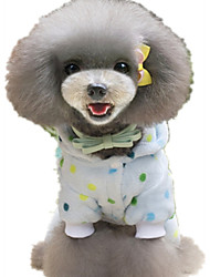 Dog Pajamas Dog Clothes Casual/Daily Polka Dots Yellow Light Blue Costume For Pets