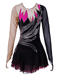Figure Skating Dress Women's Girls' Ice Skating Dress Black Spandex High Elasticity Performance Handmade Skating Wear Ice Skating Figure