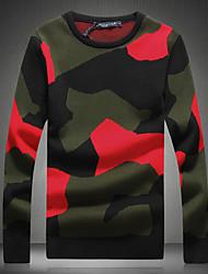 Недорогие -Муж. Однотонный Пуловер, Повседневные На выход Длинный рукав Круглый вырез Шерсть Весна Осень