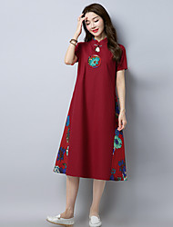 cheap -Women's Daily Shift Dress,Embroidered Stand Midi Short Sleeves Cotton Linen Summer Mid Rise Micro-elastic Thin