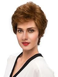 женщины человеческие волосы capless парики средний каштановые черные короткие естественные стороны волны часть