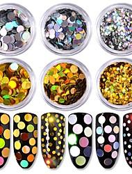 Недорогие -6 цвет круглой формы размер лазера красочные золото и серебро блестки 1g / box