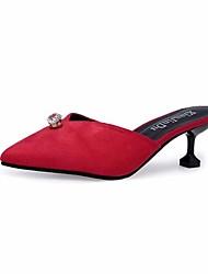 Femme Chaussures Cachemire Automne Confort Sabot & Mules Bout pointu Strass Pour Décontracté Noir Beige Rouge Vert