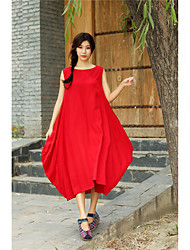 cheap -Women's Daily Loose Dress,Solid Round Neck Midi 3/4 Length Sleeves Linen Acrylic Summer Mid Rise Micro-elastic Thin