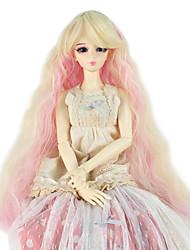 Mulher Perucas sintéticas Sem Touca Longo Crespo Cacheado Ouro rosa boneca peruca Peruca para Fantasia