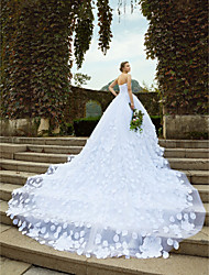 cheap -Ball Gown Strapless Cathedral Train Satin Tulle Wedding Dress with Appliques Crystal Detailing by LAN TING BRIDE®
