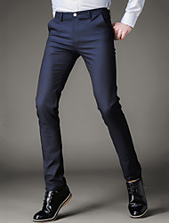 Men's Mid Rise Micro-elastic Slim Chinos Pants,Street chic Solid Cotton Polyester Winter Fall