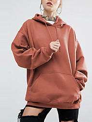cheap -Women's Plus Size Daily Plus Size Casual Street chic Hoodie Solid Hooded Micro-elastic Polyester Long Sleeve Spring Fall