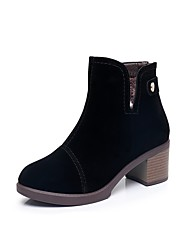 cheap -Women's Shoes Flocking Fall Winter Fluff Lining Boots Chunky Heel Round Toe Booties/Ankle Boots Button Zipper For Casual Office & Career